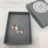 Jane Marshall Round Silver & Copper Drop Earrings